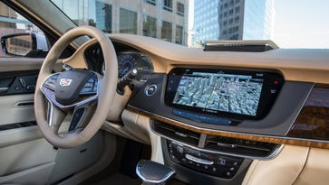 The navigation screen of the 2016 Cadillac CT6. Sometime in 2017 General Motors will introduce its Super Cruise semi-autonomous technology on this large luxury sedan.