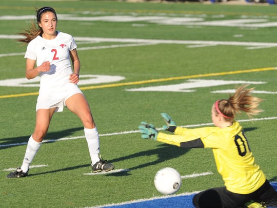Cooper's Hayden Abor, left, watches as her shot slips past the Lubbock High goalie to put the Lady Cougars up 2-0 with 20:10 left in the first half. Abor scored two goals in Cooper's 4-0 victory over the Lady Westerners on Friday, March 2, 2018 at Shotwell Stadium.