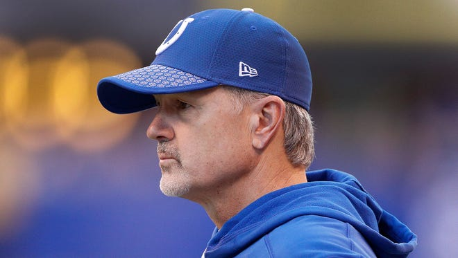 Indianapolis Colts head coach Chuck Pagano looks on late in the second half of their game at Lucas Oil Stadium Sunday, Nov. 26, 2017. The Tennessee Titans defeated the Indianapolis Colts 20-17.