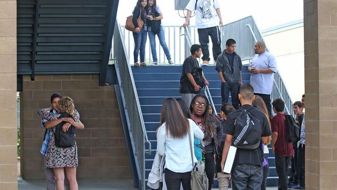 Students at Rancho Mirage High School walk  between classes.