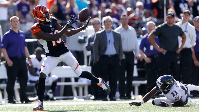 Bengals wide receiver A.J. Green catches a go-ahead touchdown pass in the fourth quarter against the Baltimore Ravens on Sept. 7.