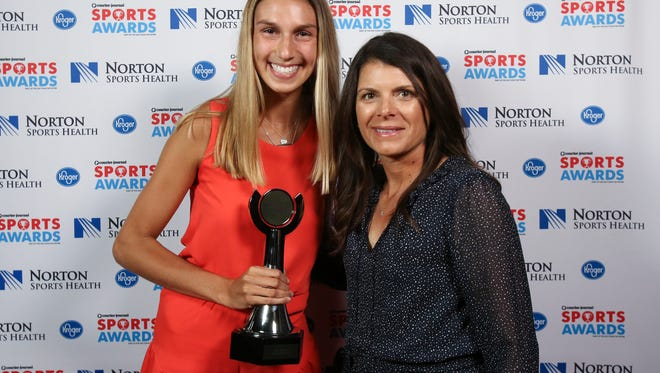 Two-time U.S. Olympic gold medalist Mia Hamm, right, posed with Paige Hammons during the CJ Sports Awards.June 12, 2017
