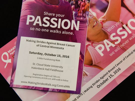 Materials promote the upcoming fundraising walk for