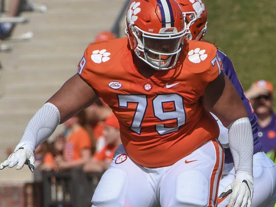 Clemson offensive lineman Jackson Carman (79) during the the spring game in Memorial Stadium in Clemson on Saturday, April 14, 2018.