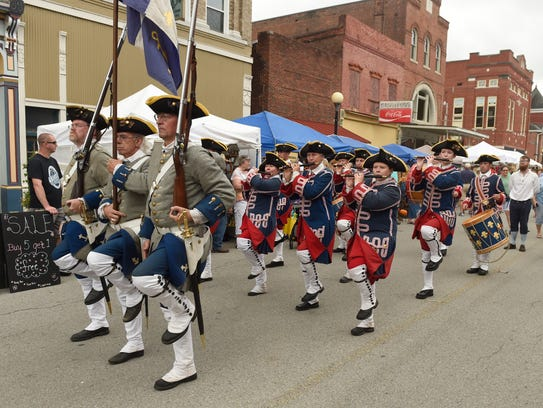 Members of the Tippecanoe Ancient Fife and Drum Corps