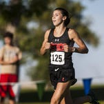 Christina Aragon, Billings Senior, finished in second in the large schools women's race with a time of 17:29.35 during the Great Falls Invitational cross country meet at Eagle Falls Golf Course on Sept. 25, 2015.