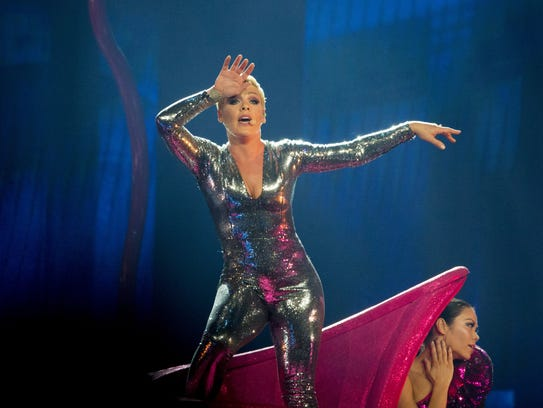 Pink performs during her Beautiful Trauma World Tour