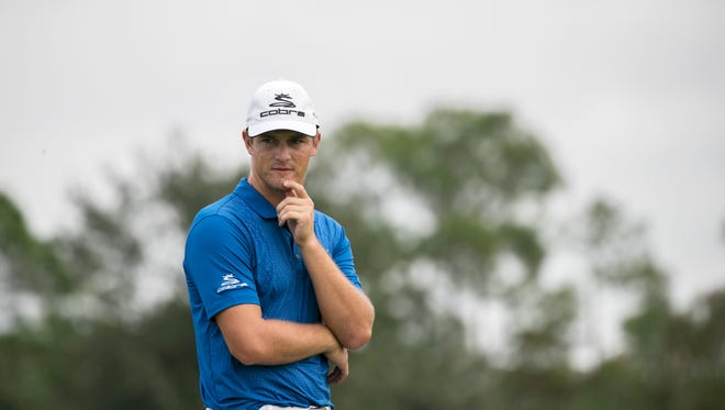 Bryson DeChambeau watches his group putt on the 9th green on Tuesday, Dec. 6, 2016, during the Franklin Templeton Shootout Pro-Am in Naples.