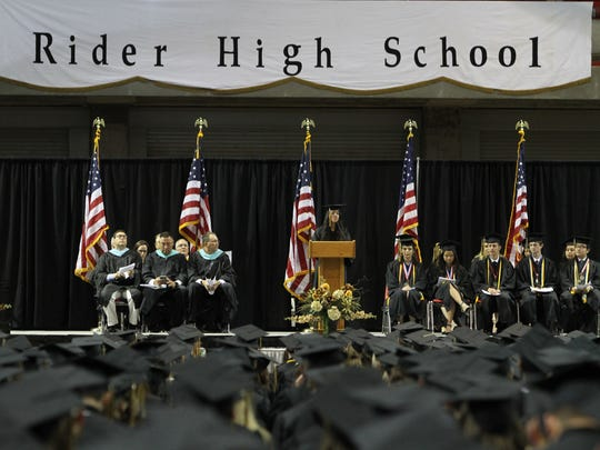 A member of the Rider High School class of 2016 speaks