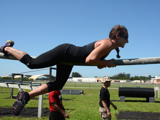 """Navy vet Gabbbie Gambino """"learns the ropes"""" at the"""