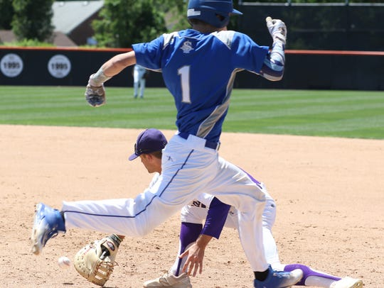 Sayreville's Kyle Richards runs to first base during
