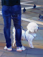 Barbara Neibart, Piazza San Marco—Dog 91, 2012, Oil on wood.