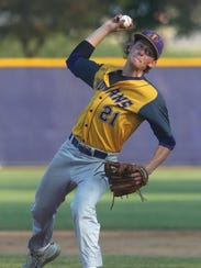 Indianola junior Brendan Sher pitches against Mason