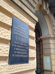 Domazlice, Czech Republic, plaque commemorating the