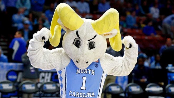 The North Carolina Tar Heels mascot preforms before the game between the North Carolina Tar Heels and the Arkansas Razorbacks in the second round of the 2017 NCAA Tournament at Bon Secours Wellness Arena.