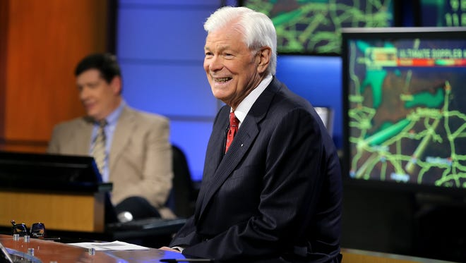 Anchorman Don Alhart, seen during a commercial break on the Channel 13 set with meteorologist Glenn Johnson, does the 6 and 11 p.m. newscasts.