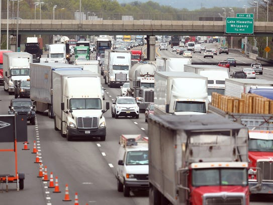 Traffic backs up on Route 80 westbound after a dump