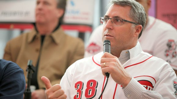 Reds manager Bryan Price responds to a fan during a question-and-answer session Sunday at Great American Ball Park.