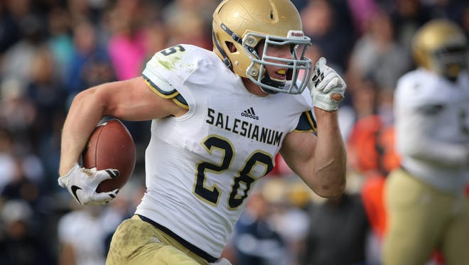Salesianum running back Colby Reeder rushed for 408 yards against Smyrna in the first meeting.