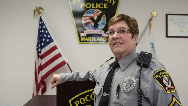 Officer First Class, Hazel Beauchamp, at Pocomoke City's Police Department Headquarters on Market Street on Tuesday Jan. 19, 2016.