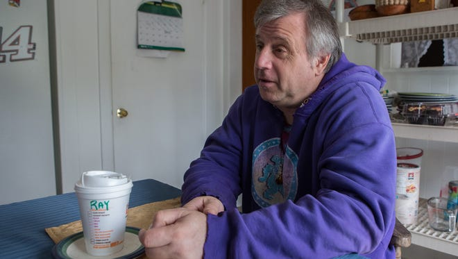 AMEN House Resident, Tom Vedas, of Lewes, talks about his experience during an interview on Tuesday, March 16, 2016.