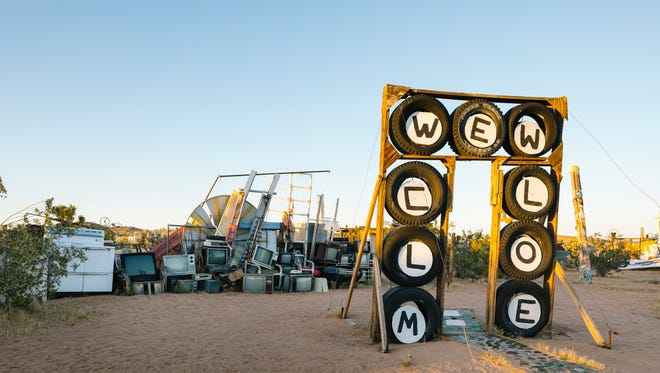 The entrance to Noah Purifoy's Outdoor Museum of Assemblage Sculpture in Joshua Tree