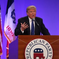 Presidential candidate Donald Trump speaking at the May 16 Lincoln Dinner in Des Moines.