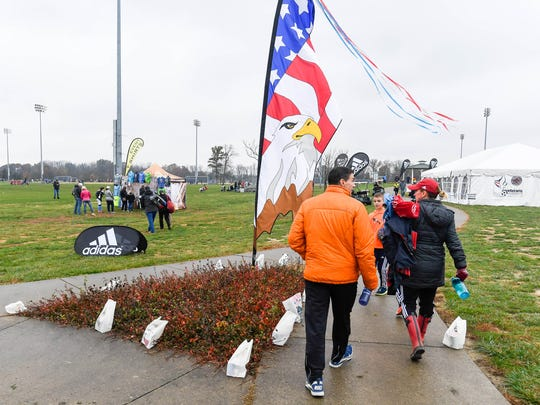 Family, friends and spectators arrive at the Evansville's Goebel Soccer Complex for the annual Veterans Invitational Soccer Tournament Sunday. The Evansville Convention & Visitors Bureau plan on making a major upgrade to the complex in the coming months, November 12, 2017.