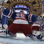 Henrik Lundqvist defends the net against the Montreal Canadiens during Game 6 of the Eastern Conference Finals.