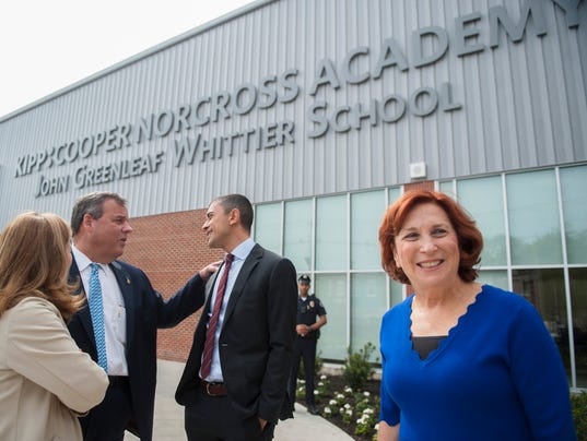 Christie, at school dedication in Camden,