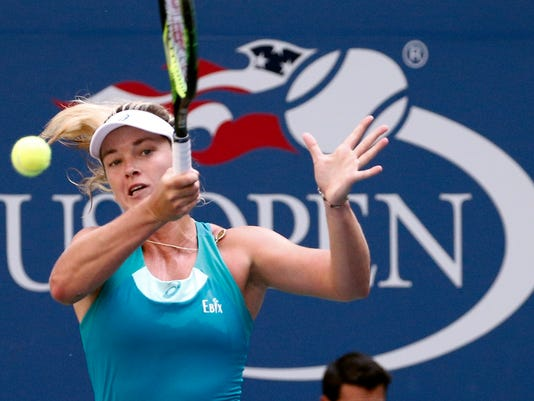 CoCo Vandeweghe, of the United States, returns a shot from Lucie Safarova, of the Czech Republic, during the fourth round of the U.S. Open tennis tournament, Monday, Sept. 4, 2017, in New York. (AP Photo/Peter Morgan)