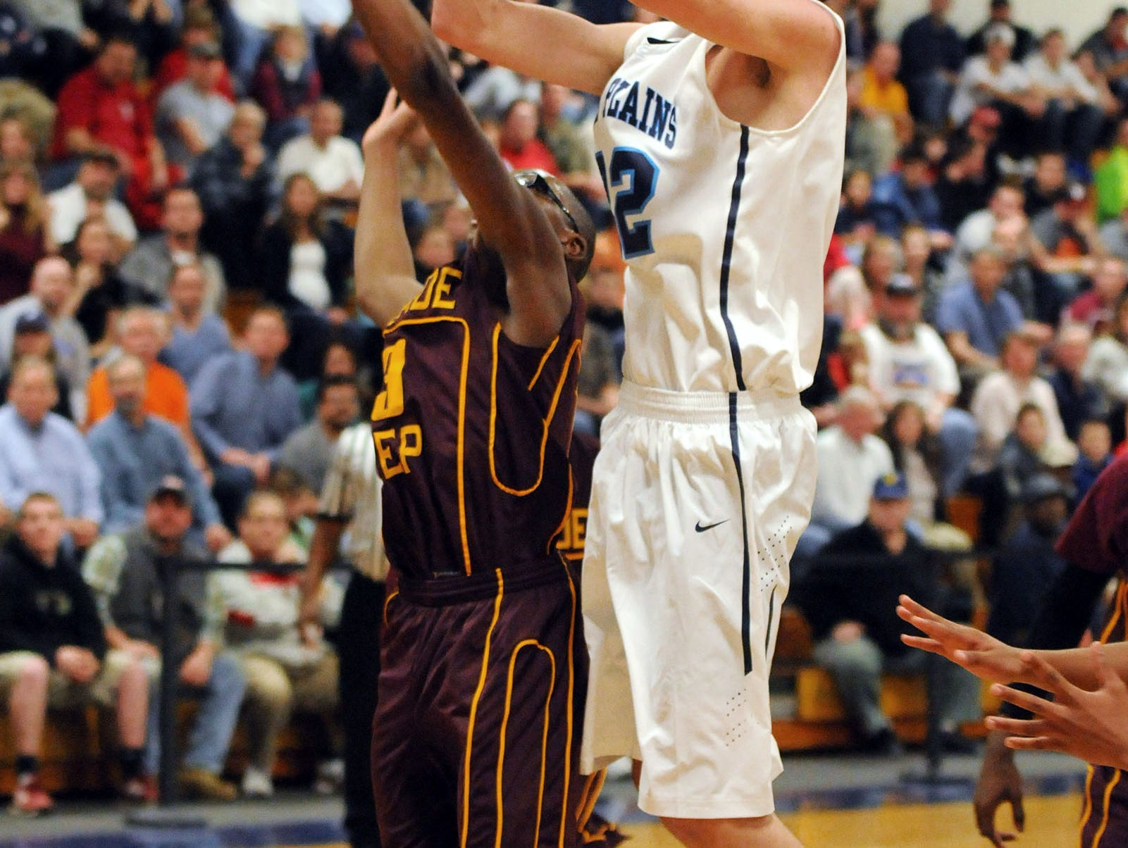 Pine Plains' Zach Lydon shoots against Palisade Prep in a Class C regional semifinal on March 5, 2013 in Newburgh.