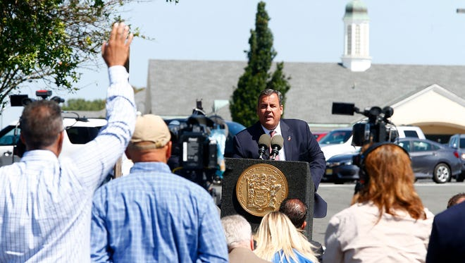 NJ Governor Chris Christie speaks at the Monmouth Service Area along the Garden State Parkway in Wall Township Wednesday, August 30, 2017.  He announced a plan to upgrade the facilities at the toll road rest stops.