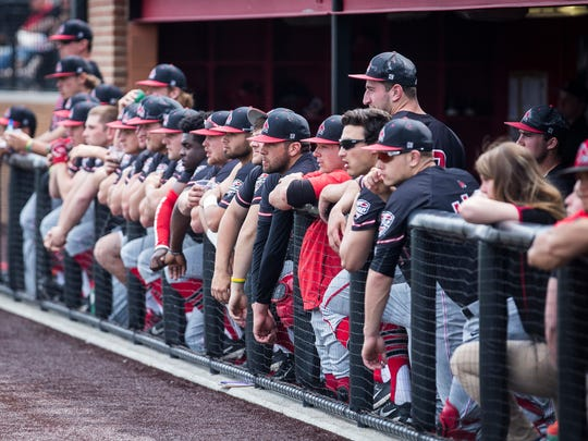 Ball State players in the dugout during their game against Bowling Green on Saturday, April 15, 2017.