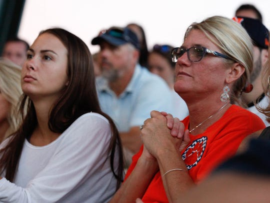 Tali Milde and Rhonda Mize watch Auburn pitcher Casey Mize pitch against LSU Friday, May 18, 2018, at Hitchcock Field at Plainsman Park in Auburn, Ala.