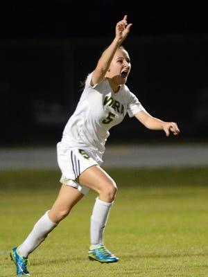 Viera's Jordan Walsh (5) celebrate her second goal during last Thursday's regional quarterfinal match against Lake Minneola.