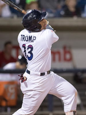 Chadwick Tromp (13) bats during the game between Birmingham Barrons and the Blue Wahoos in Pensacola on Tuesday, April 24, 2018.