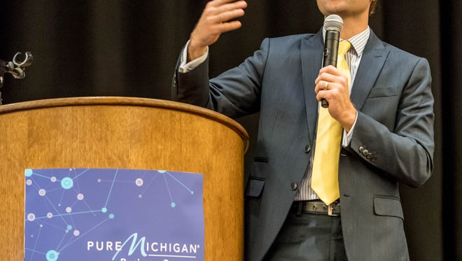 Michigan Lt. Gov. Brain Calley delivers his remarks Wednesday at the 2016 Southwest Michigan Buyers' Summit at FireKeepers Casino Hotel in Emmett Township.