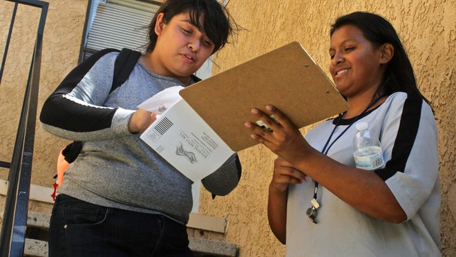 Volunteers Marcella Villegas (left) and Summer Rodriguez (right) prepare voter registration forms in Desert Hot Springs. In August 2015, a young group knocked on doors and attempted to convince Latinos to register to vote.