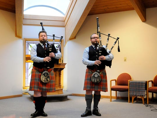 Professional pipers Dan Nevans and Andrew Bova play at Firelands Presbyterian Church as part of the Port Clinton Musical Arts Series on Sunday.