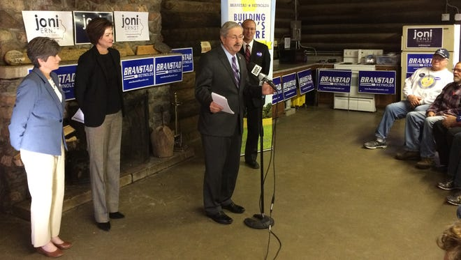 Iowa Gov. Terry Branstad unveils a new policy at McHose Park in Boone.