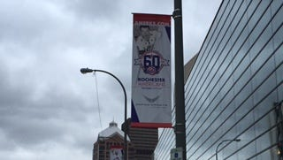 Banners honoring greats of the past adorn the street poles outside the arena as part of the Amerks 60th anniversary season.