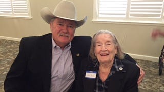 John Compere visits Jean Bell, who has been a member of the Daughters of the American Revolution for 42 years.