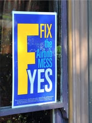 A sign in a window in San Francisco in 2015 during