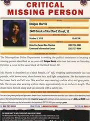 Metropolitan Police Department flyer on Unique Harris