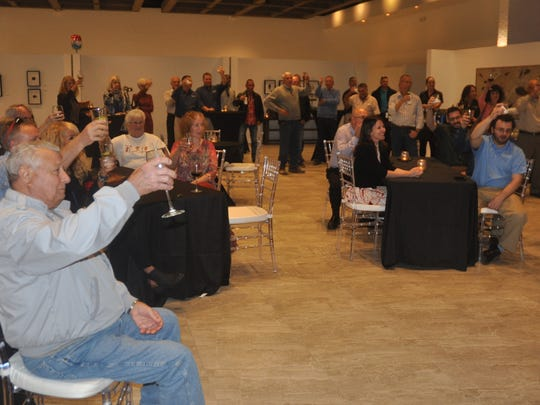More than 60 people toast Frank Maggio during his retirement party. Maggio, 80, retired from Conditioned Air after 46 years of service. The company held a retirement party in his honor on Wednesday, Jan. 16.