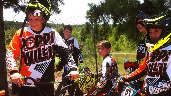 Jared Brown, left, Peyton Daugherty, Landon Shively, Gaege Brown, Kenzie Adcock and Alexas Hayes are among the local competitors this weekend in the USA BMX Gold Cup regional championship qualifier at Cargill Park.