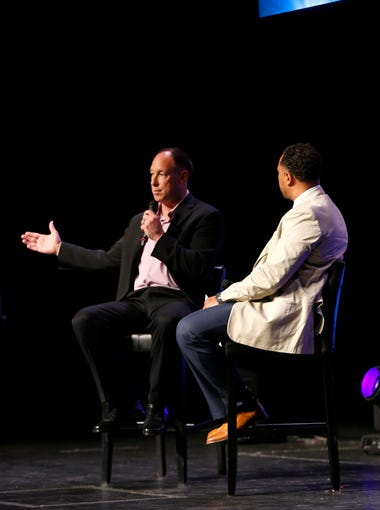 Luis Gonzalez talks with azcentral's Greg Moore about life as an athlete during the azcentral Sports Awards at ASU Gammage in Tempe, Ariz. on June 10, 2018. #azcsa