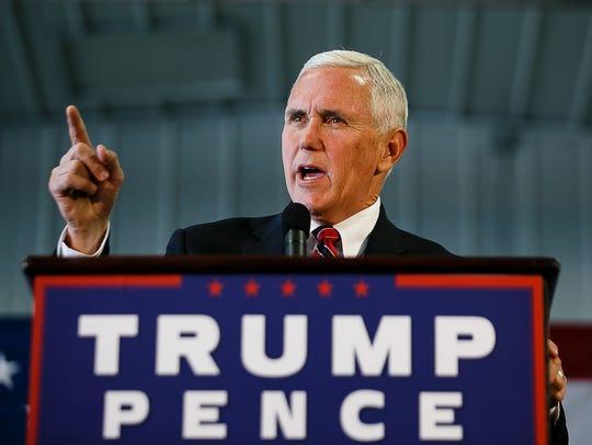 Republican vice presidential nominee Mike Pence speaks