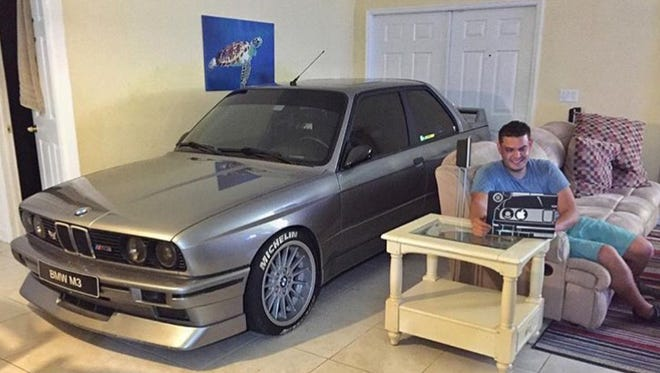 Randy Jalil put his 1988 BMW M3 in his living room to protect it during Hurricane Matthew.